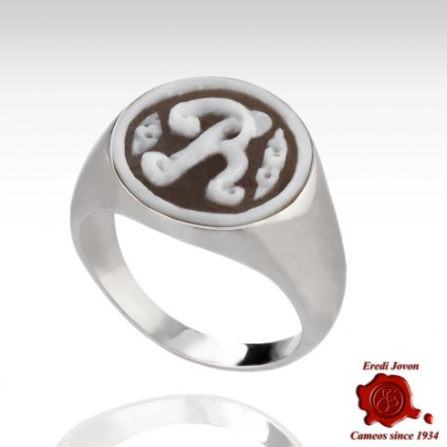 Initial Cameo Ring Silver Round