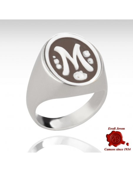 Initial Cameo Ring Silver Oval