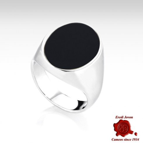 Onyx Silver Signet Ring