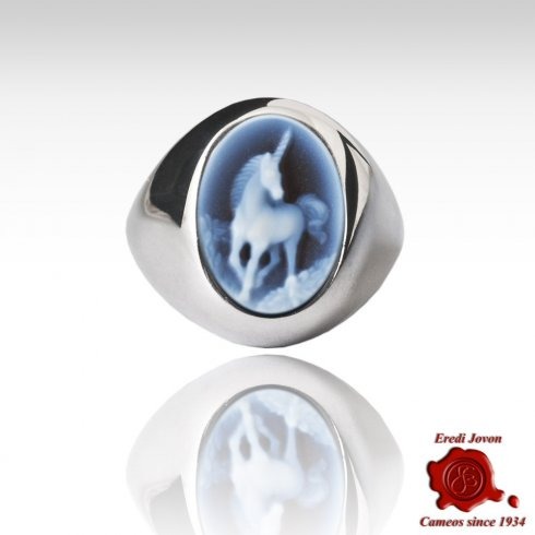 Anello Unicorno Cammeo Blu Fascia Larga Argento