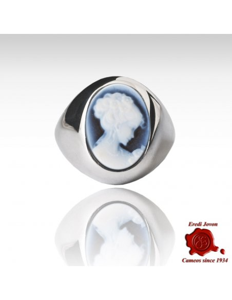Venice Wide Band Agate Cameo Silver Ring
