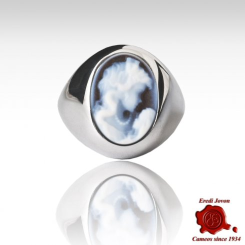 Wide Band Blue Cameo Silver Ring