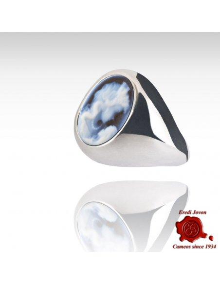 Anello Cammeo Blu Fascia Larga Argento