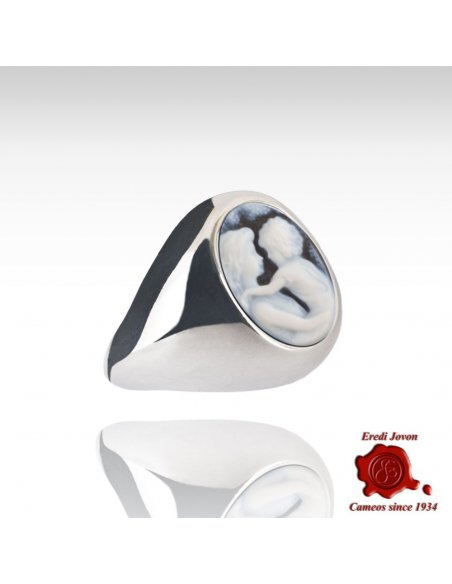 Wide Curved Band Blue Cameo Silver Ring