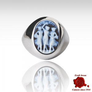 Three Graces Blue Cameo Wide Band Silver Ring