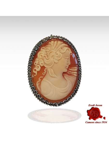 Hand Carved Shell Cameo Brooch in Silver