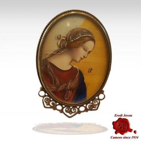 Ritratto Miniatura Dipinta in Argento Seggiola