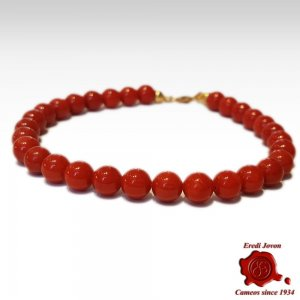 Red Coral Bracelet Beads from Italy