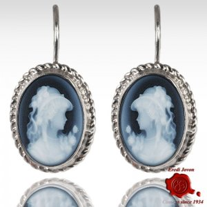 Blue Agate Cameo Earrings Angelica