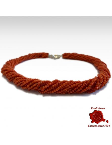 Multi Strand Red Coral Necklace
