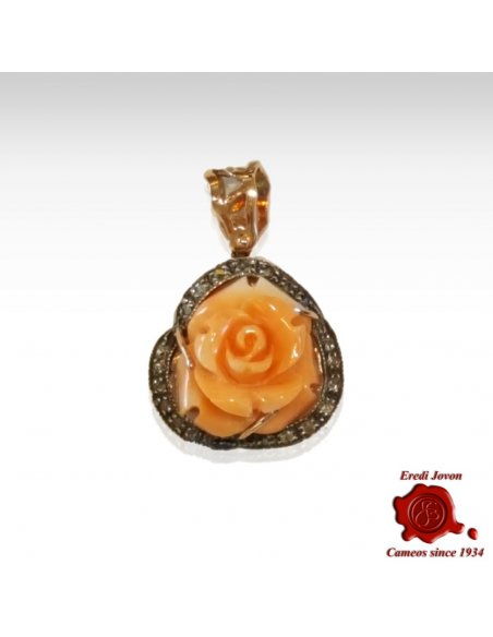 Coral Engraved Rose Pendant
