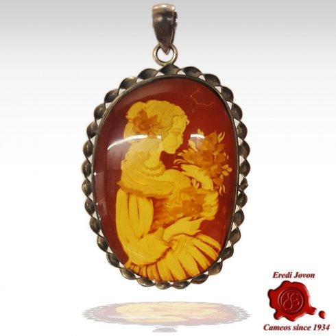Amber Stone Cameo Antique
