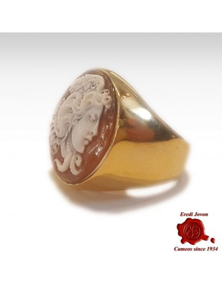 Medusa Cameo Signet Ring Gold