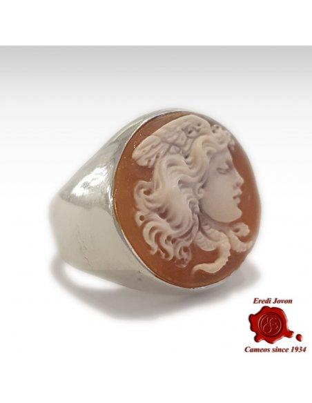 Medusa Cameo Signet Ring Silver
