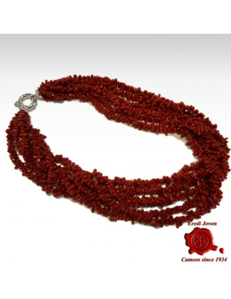 Multi String Red Coral Necklace