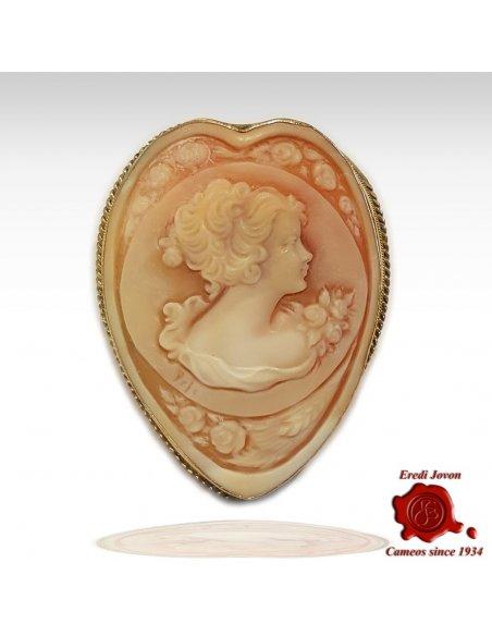 Heart Shaped Shell Cameo Brooch