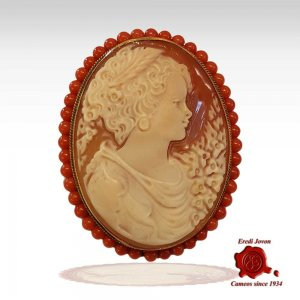 Antique Cammeo Sourrounded with Coral