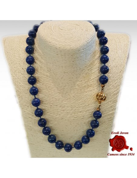 Beads Necklace Blue Lapis Lazuli in Gold or Silver