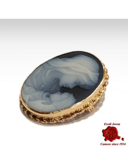 Mother Mary Gold Cameo Brooch