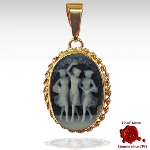 Three Graces blue cameo gold Pendant for Necklace