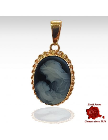Virgin Mary Blue Gold Cameo Necklace