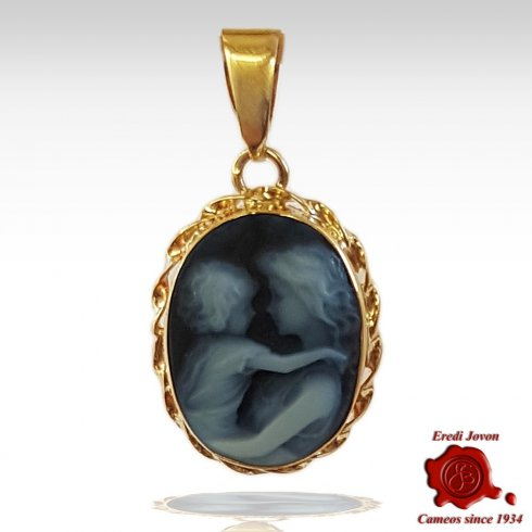 Mother and Baby Gold Blue Cameo