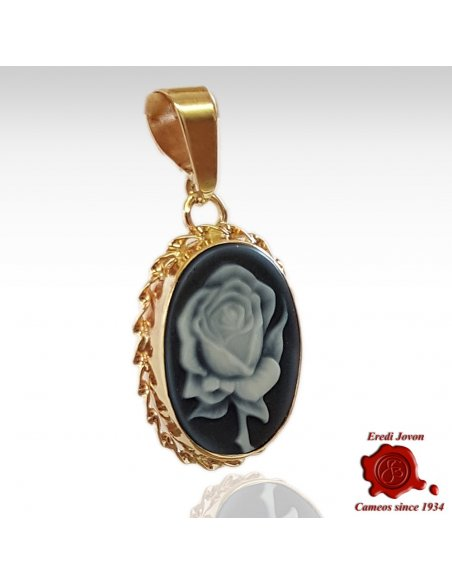 Rose Blue Cameo Pendant Gold