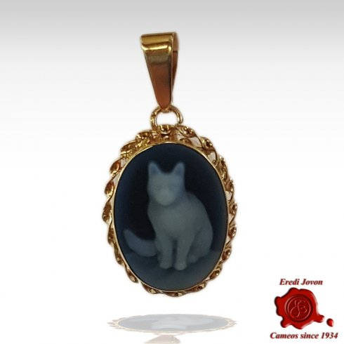 Gold Cat Blue Cameo Necklace