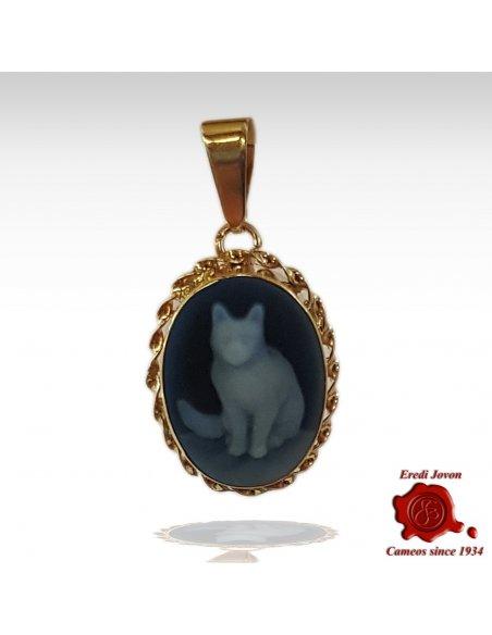 Gatto Ciondolo Cammeo oro