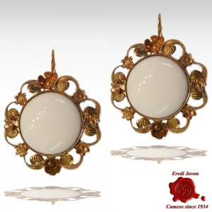White Coral Earrings Antique