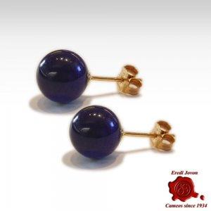 Lapislazuli Beads Earrings Silver Stud