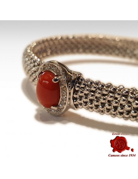 Bracelet Silver and Coral