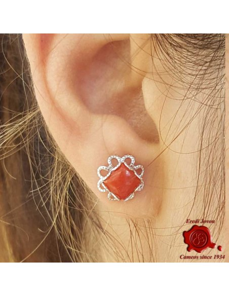 Silver Filigree and Red Coral Earrings