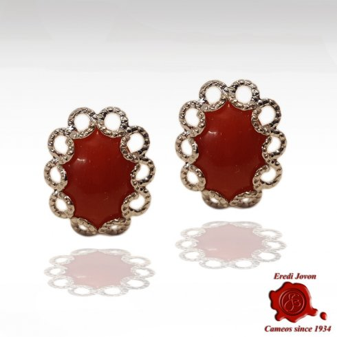 Red Coral Earrings with Silver Filigree