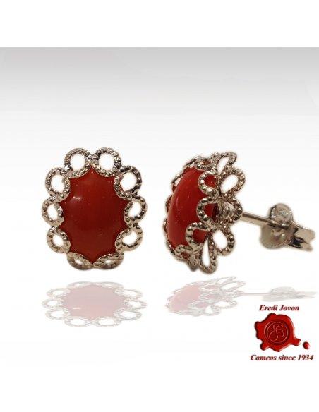 Orecchino di Corallo Rosso con Filigrana in Argento