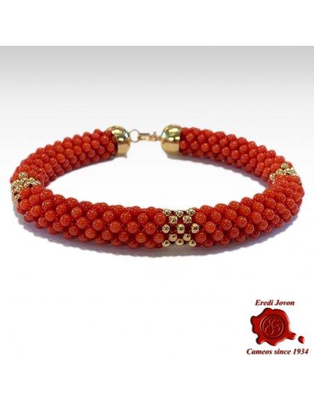 Bracciale Corallo Rosso in Oro Tessito