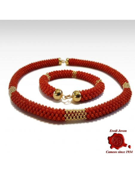 Red Coral Bracelet Gold Tessito