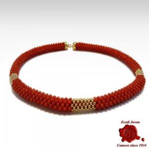 Collana Corallo Rosso in Oro Tessito