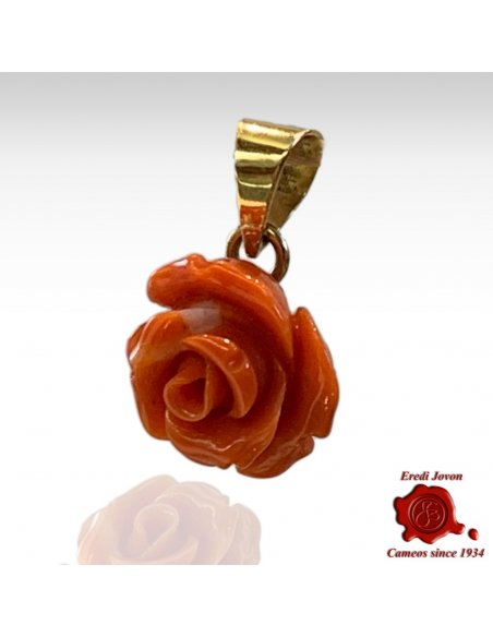 Coral Engraved Rose Pendant for Necklace