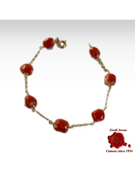 Bracciale Corallo Rosso con Catenina a Link in Oro