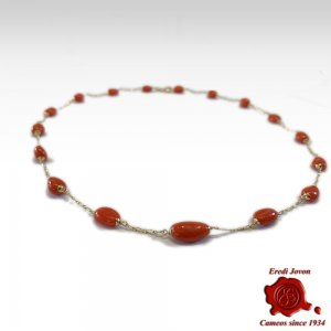 Collana Corallo Rosso con Link in Oro 18 Kt