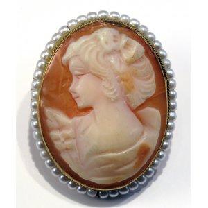 Spilla Antica Cammeo Vittoriano con Perle