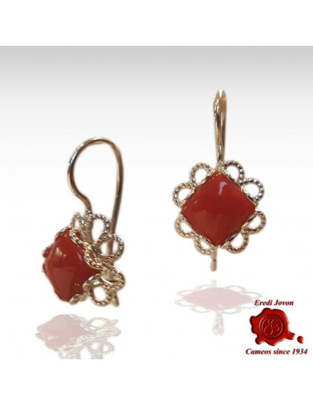 Silver Filigree and Red Coral Dangle Earrings