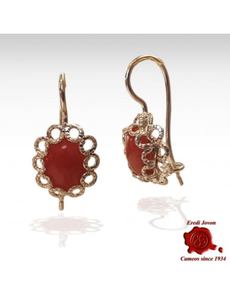 Dangle Red Coral Earrings with Silver Filigree