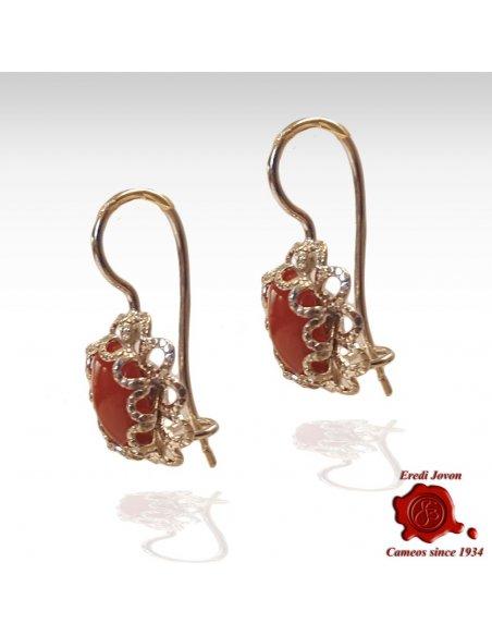 Orecchino di Corallo Rosso Pendente Filigrana in Argento