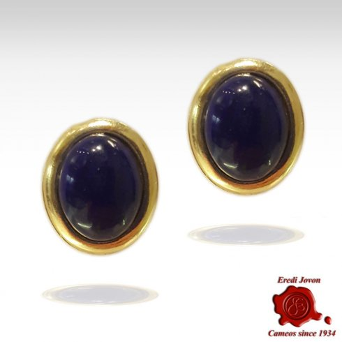 Lapislazuli Cabochon Earrings Silver Gold Plated