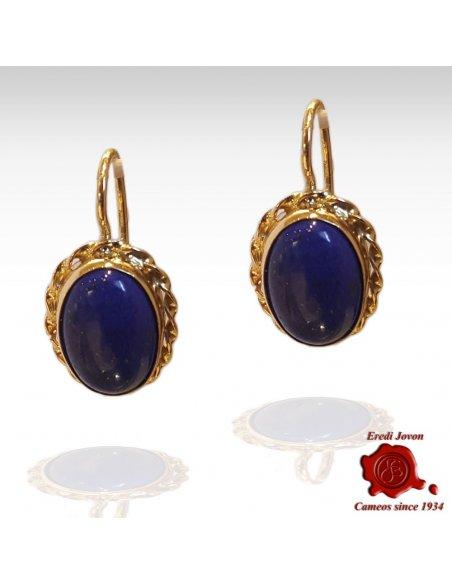 Blue Lapis Lazuli Dangle Earrings Gold
