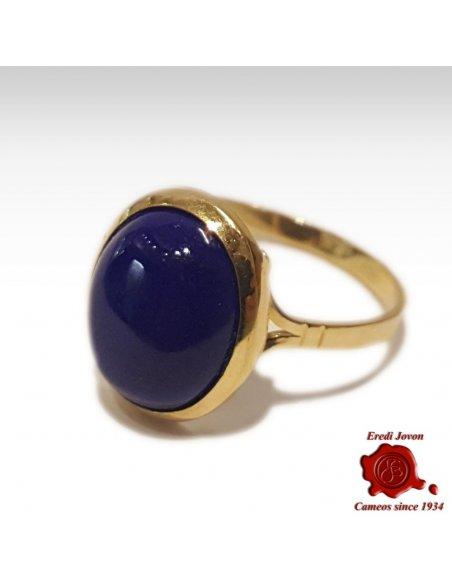 Anello Lapis Lazuli e Oro Giallo Liscio