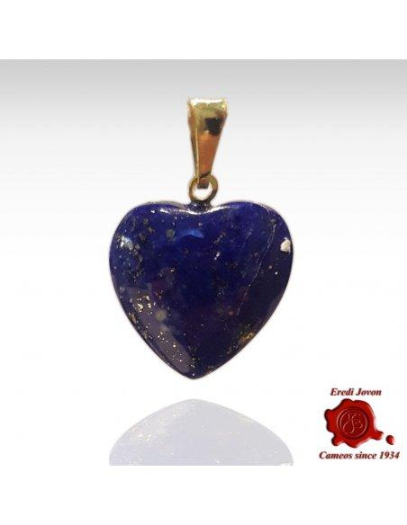 Lapis Lazuli Heart Pendant in Gold