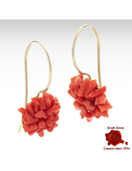 Red Coral Dangle Earrings Silver